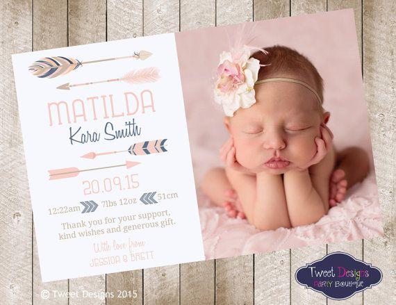 TRIBAL BIRTH ANNOUNCEMENT Girl Printable Baby Thankyou Card – Birth Announcement Pinterest
