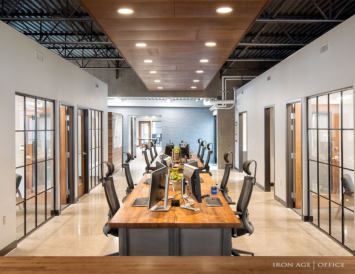 Industrial Office Commercialdesign Rustic Exposedceiling