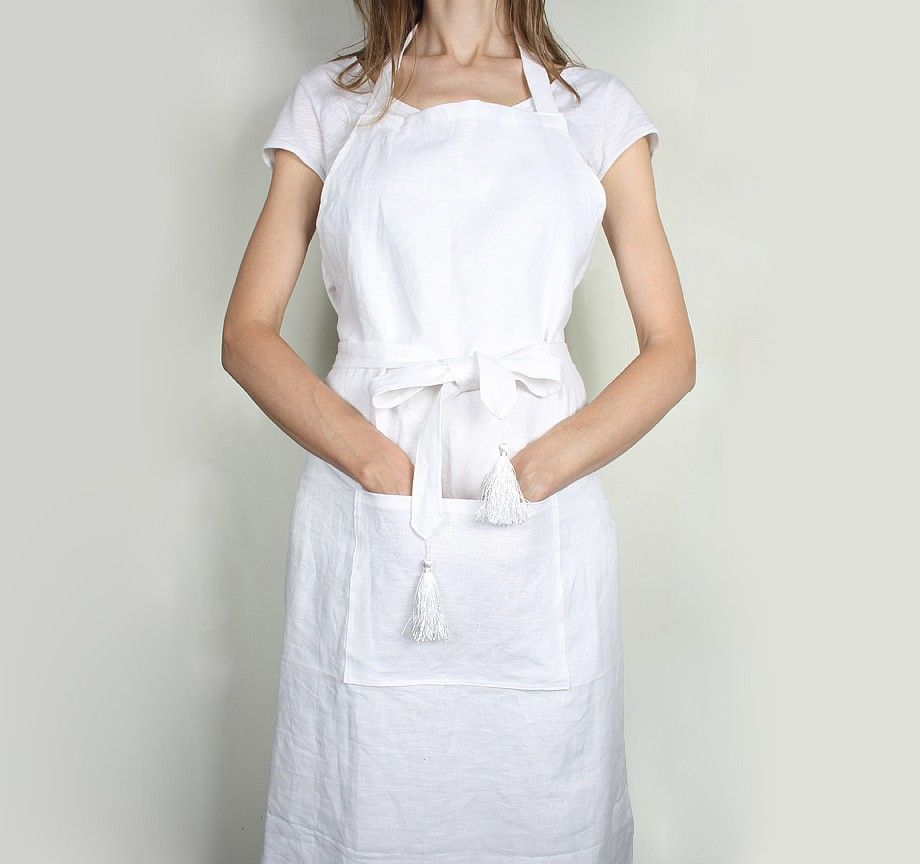 The Gorgeous Company White Linen Apron with Tassles ¥2,800 ...