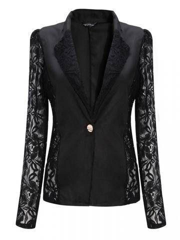Trendy One-Button Floral Stylish Lapel 3/4 Sleeve Spliced Blazer For Women Online - NewChic