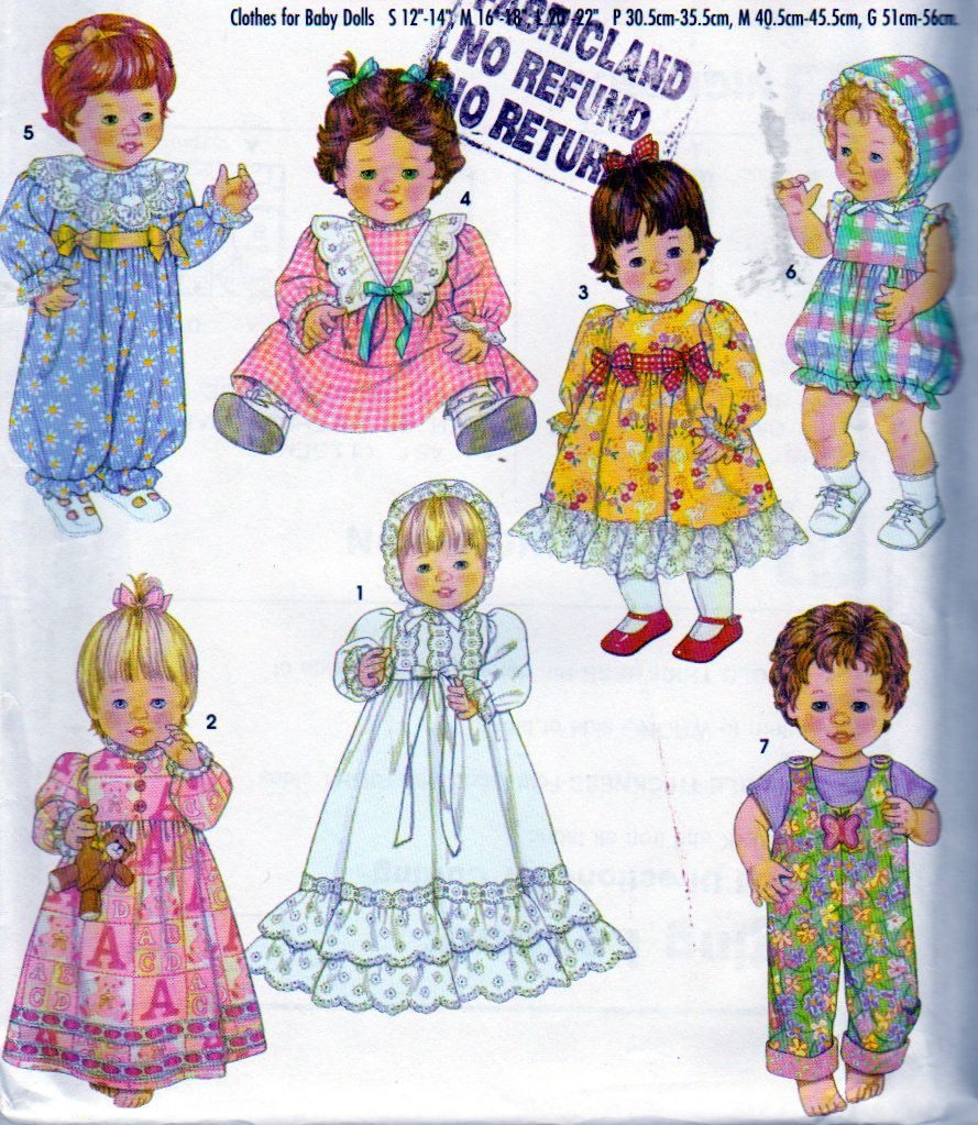 Simplicity 5419, Doll Clothes Pattern for 12, 14, 16, 18, 20 and 22 ...