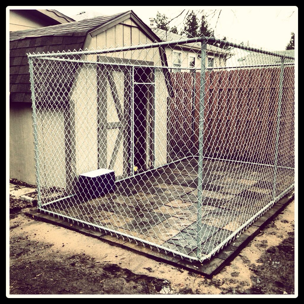 Dog Kennel Add Patio Blocks And Chain Link Fence To A
