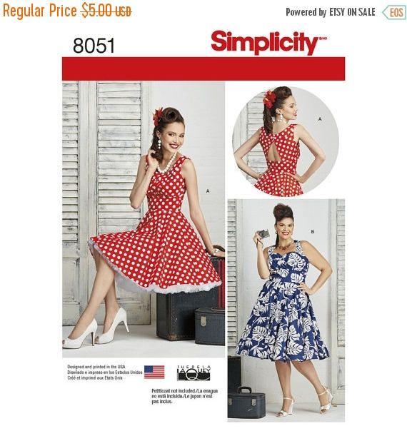 8051 Simplicity, Retro 1950's Vintage Style, Rerelease, 50's Cocktail dress, Rockabilly Dress, Mid Century, Prom, Bridesmaid, Formal Dress