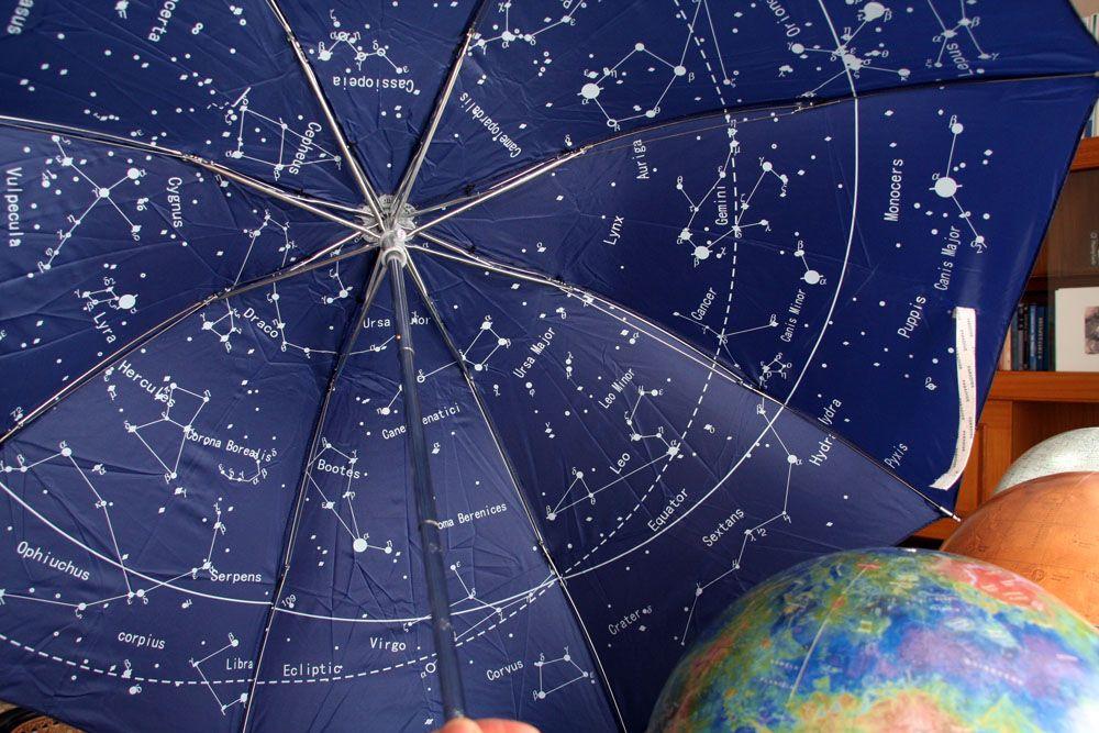 the night sky star map celestial constellations umbrella blue