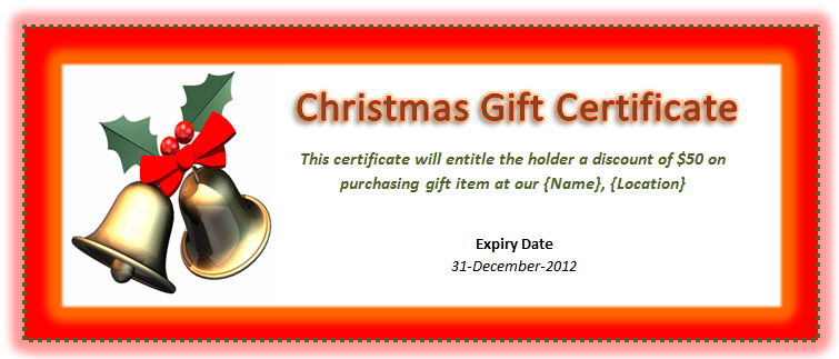 Christmas Gift Certificate Template Microsoft Office Templates Certificates  Holiday Poinsettia Design