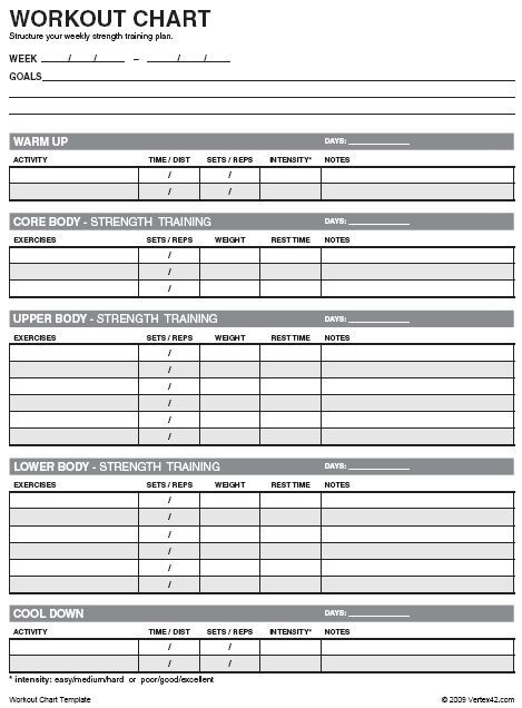 Free Workout Chart Template Discover more by visiting the picture - workout tracking sheet