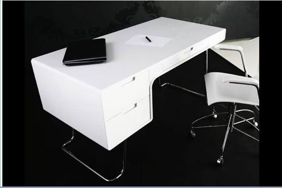 White High Gloss Office Desk Digihome