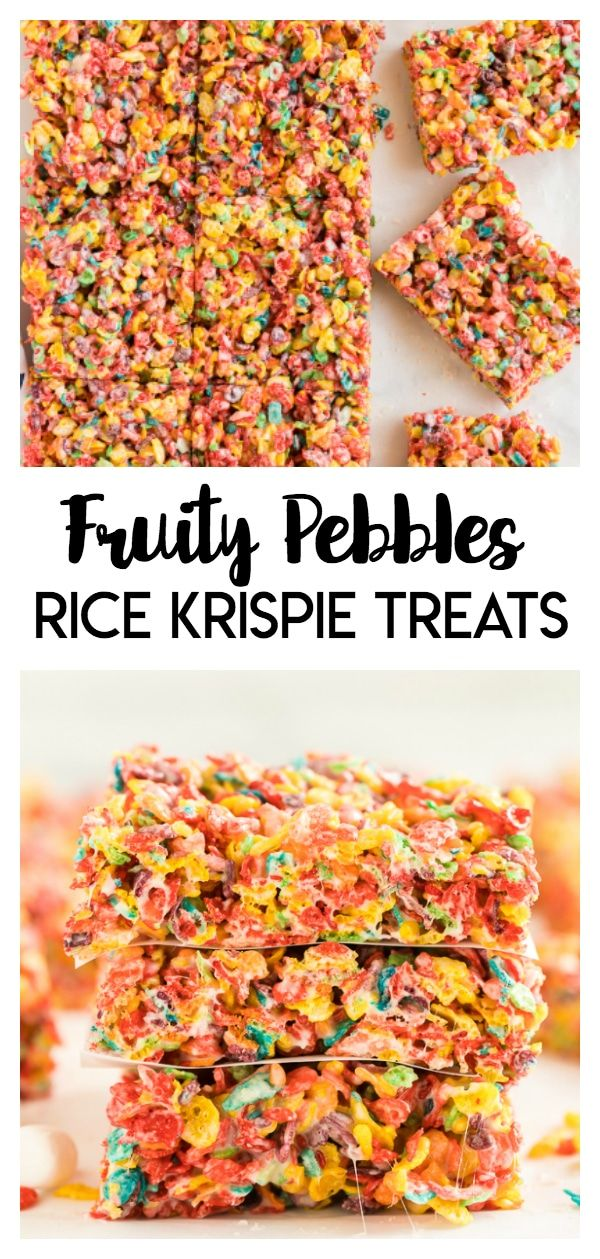Fruity Pebbles Rice Krispie Treats - this rice krispie treat recipe is made with fruity pebbles! It's a fruity and delicious twist on the classic marshmallow treat. #fruitpebbles #ricekrispie #treats #delicious #desserts #marshmallowtreats