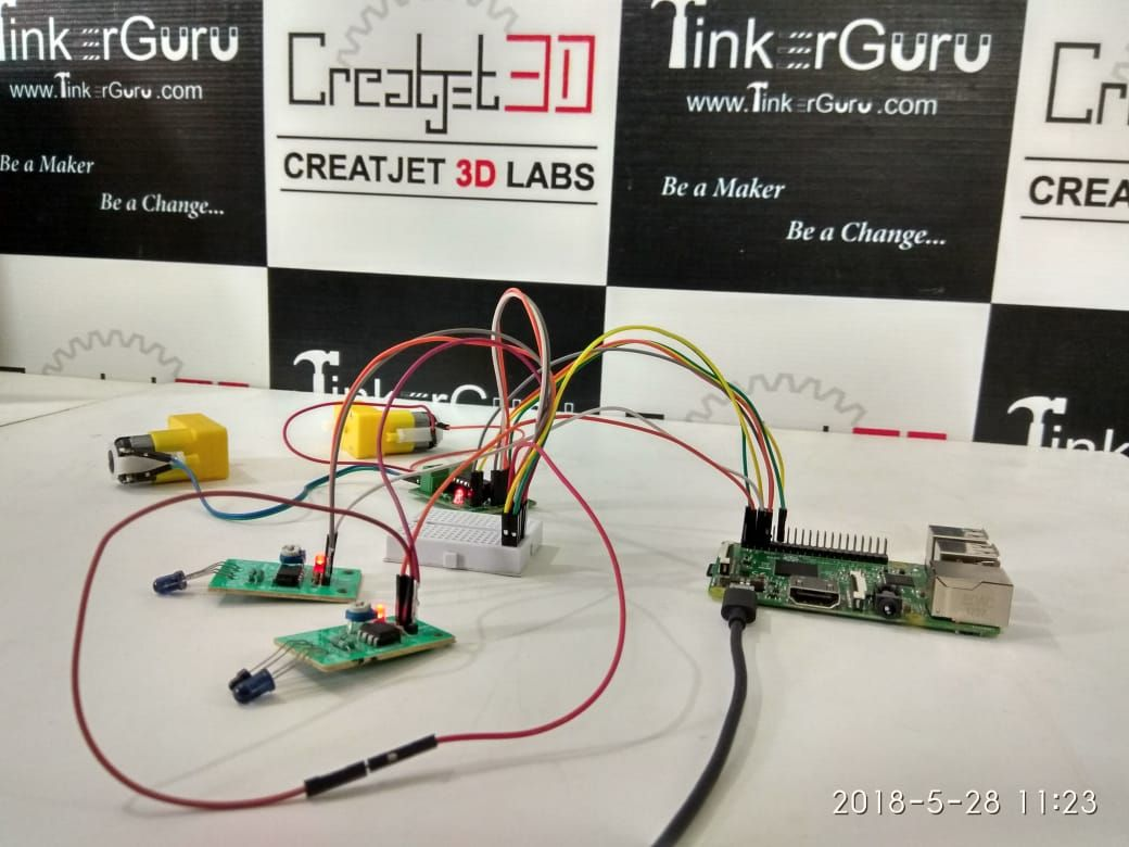 ir sensor controlled dc motor using raspberry pi3 by creatjet3d labs
