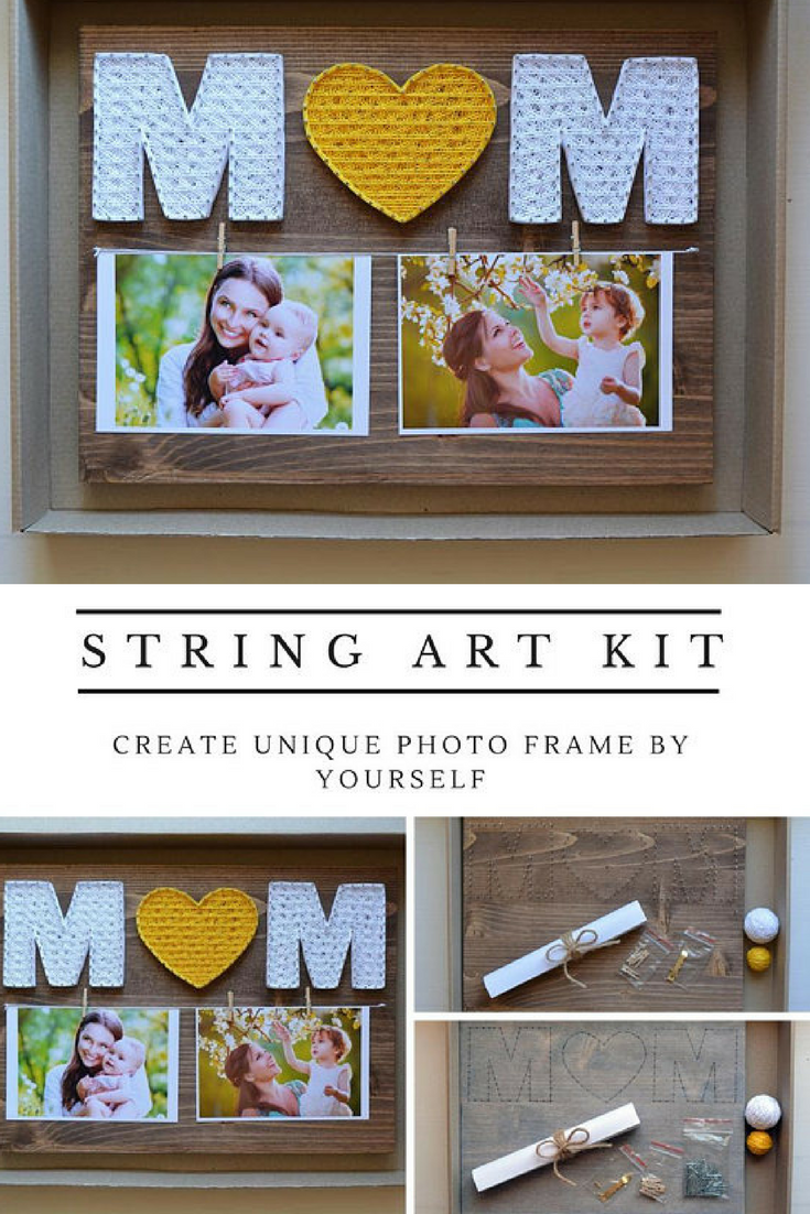 Diy String Art Kit Photo Frame Mom