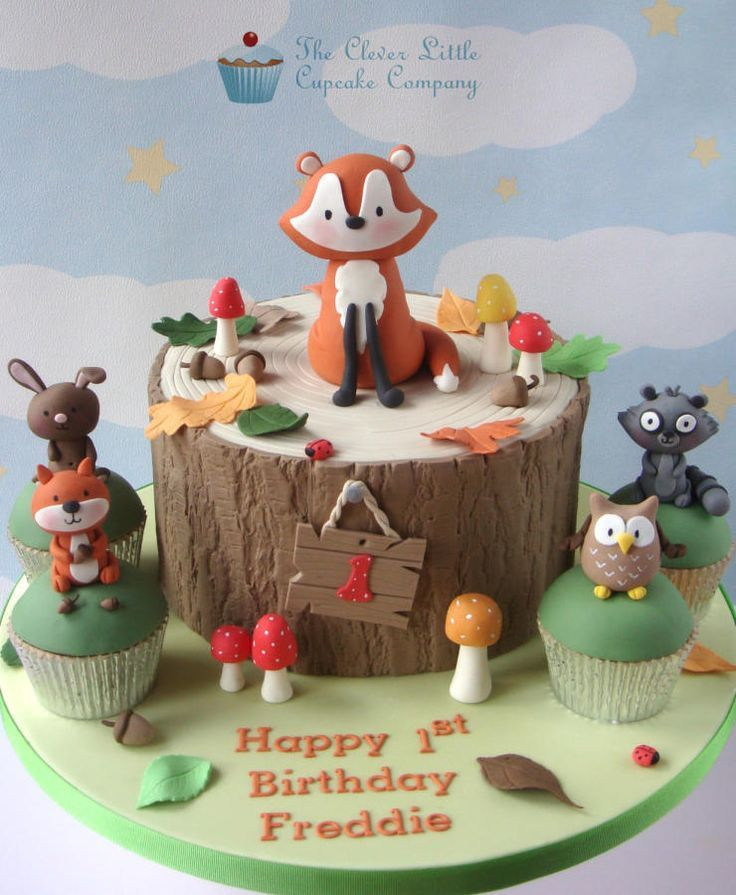 Woodland Themed 1st Birthday Cake Cake by The Clever Little