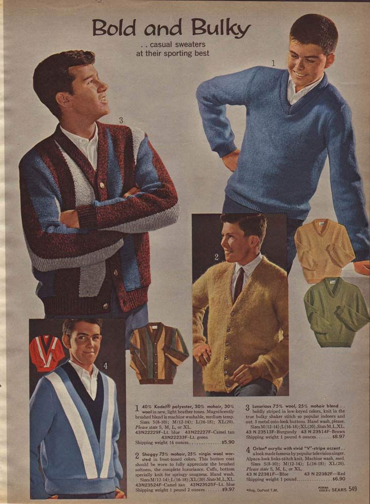 f73bd04753b6 Vintage Teen Boys' Casual Sweaters from a 1964 catalog. | 1960s ...