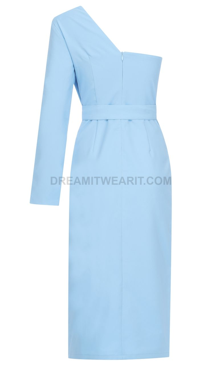 One Sleeve Structured Midi Dress Blue Luxe Midi Dresses And Celebrity Inspired Dresses Blue Midi Dress Celebrity Inspired Dresses Dresses [ 1280 x 779 Pixel ]
