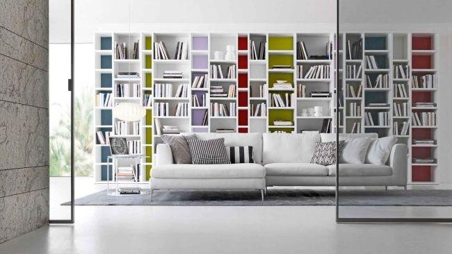 Regalsysteme Wohnzimmer Aufbewahrung Bücher Sofa Weiß
