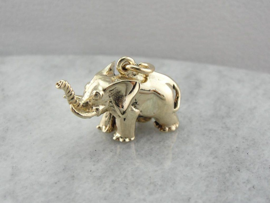 Lucky elephant solid gold elephant pendant solid gold and gold lucky elephant solid gold elephant pendant market square jewelers aloadofball Gallery