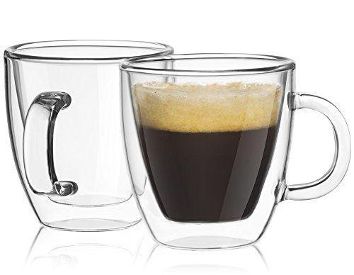 Joyjolt Savor Double Wall Insulated Glasses Espresso Mugs Set Of 2 5 4 Ounces Glass Coffee Mugs Glass Coffee Cups Insulated Glasses