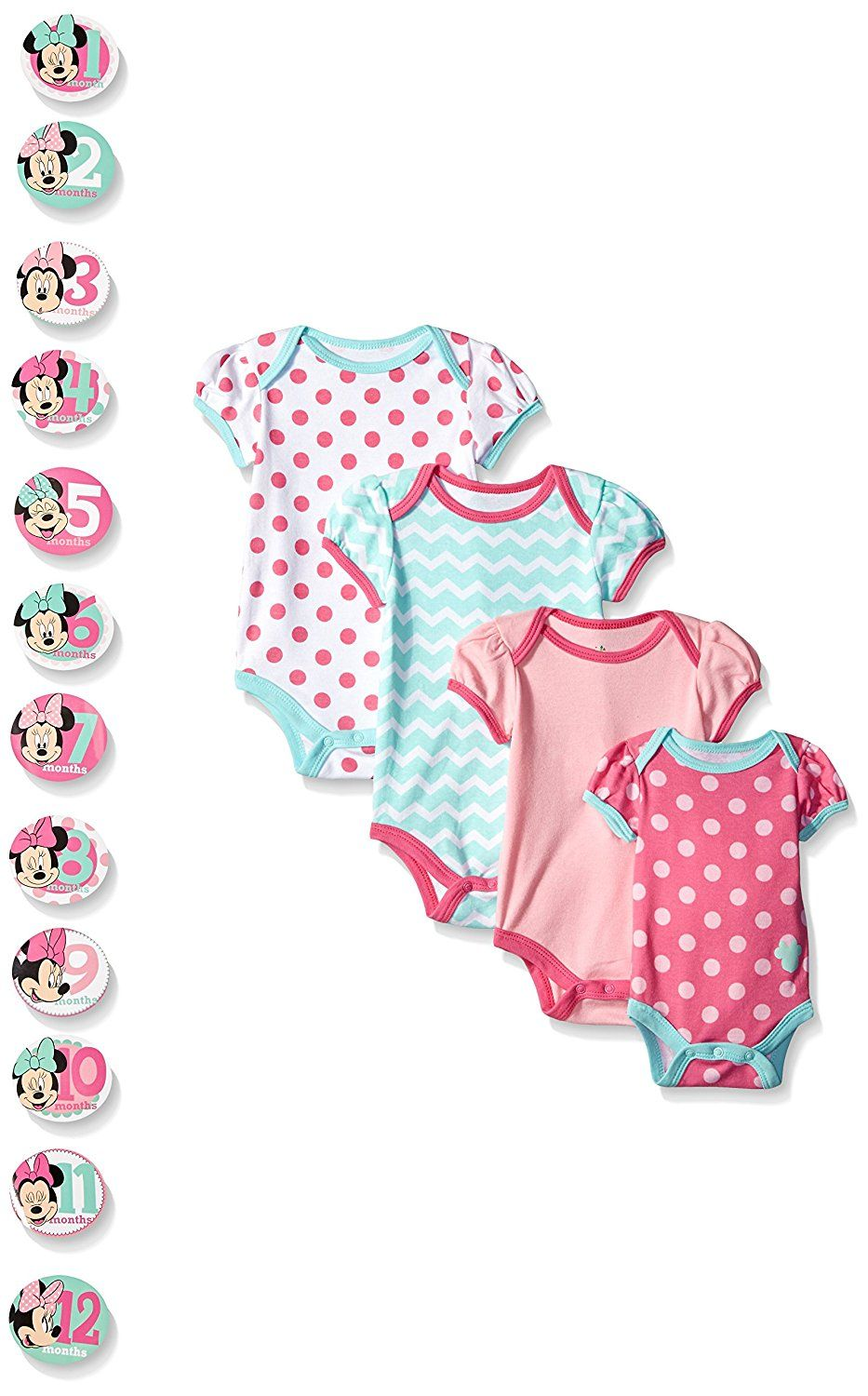f83e91b05 Disney Baby-Girls Grow with Me Bodysuits with 12 Monthly Minnie Stickers  (Pack of 4) ** To view further, visit now : Baby clothes