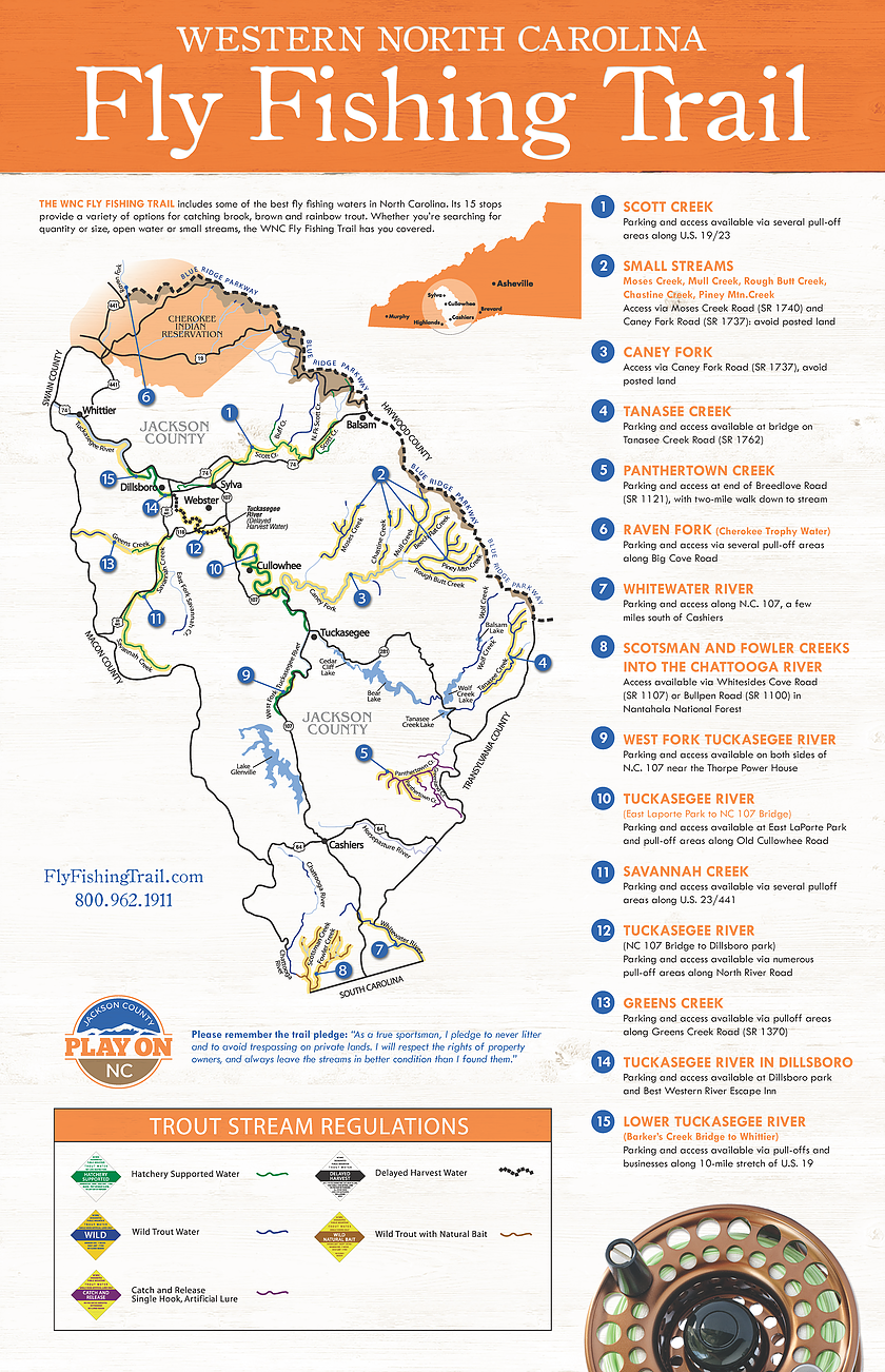 Map Of Access Points For Trout Fishing On The Tuckasegee River And