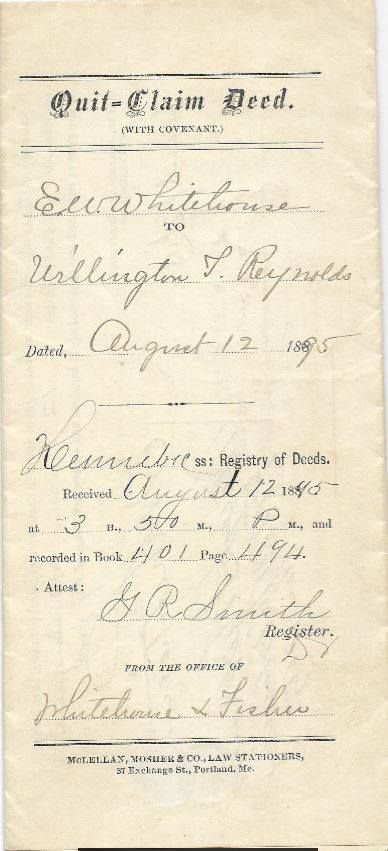 This Is A QuitClaim Deed From E W Whitehouse To Willington