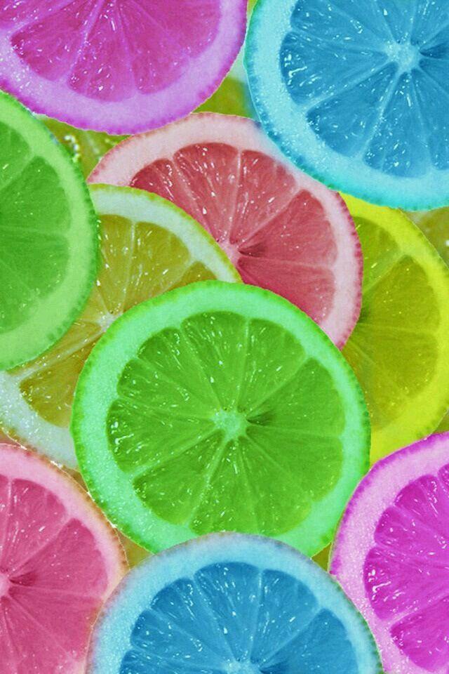 Rainbow Colored Citrus Slices Wallpaper Lemon