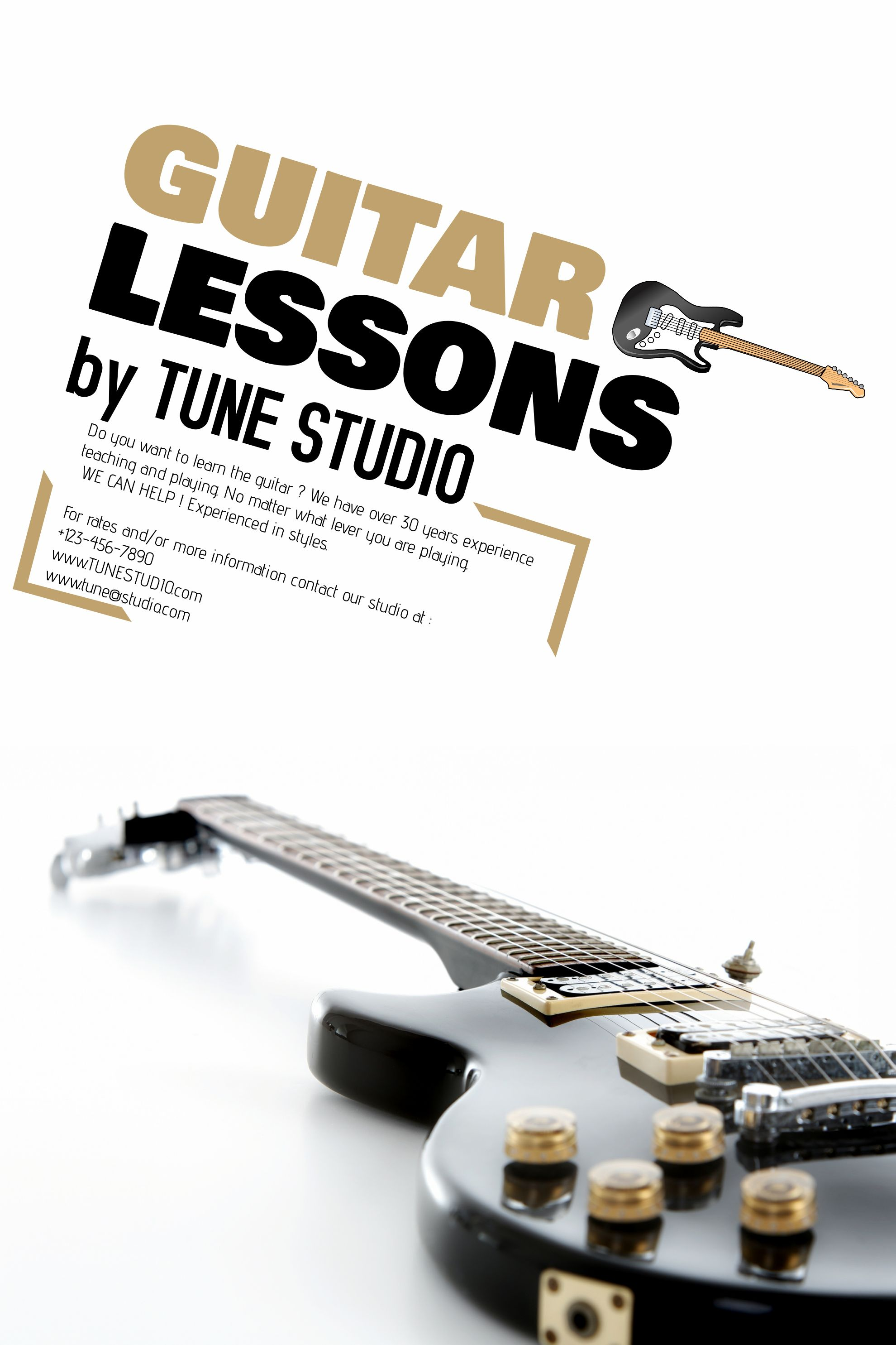 Guitar Lessons Advertisement Poster Flyer Template Guitar