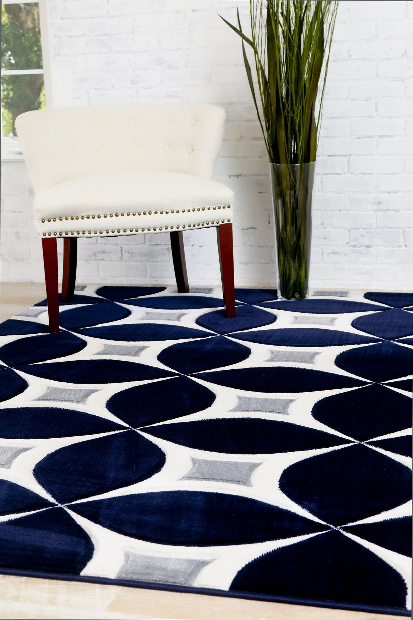 Navy Gray Modern Rug Kaleidoscope Contemporary Affordable Area Rugs Bargain