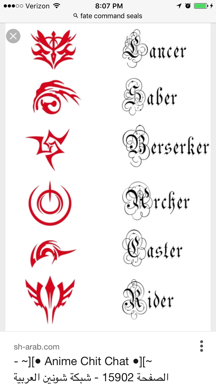 Pin By Aphoenix On Fate Stay Fate Tattoo Cool Symbols Fate Stay Night