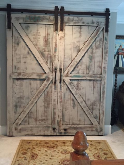 Custom Pine Double Barn Doors W British Brace Design