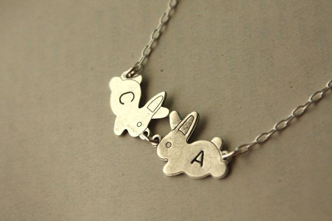 Personalized Bunnies Necklace