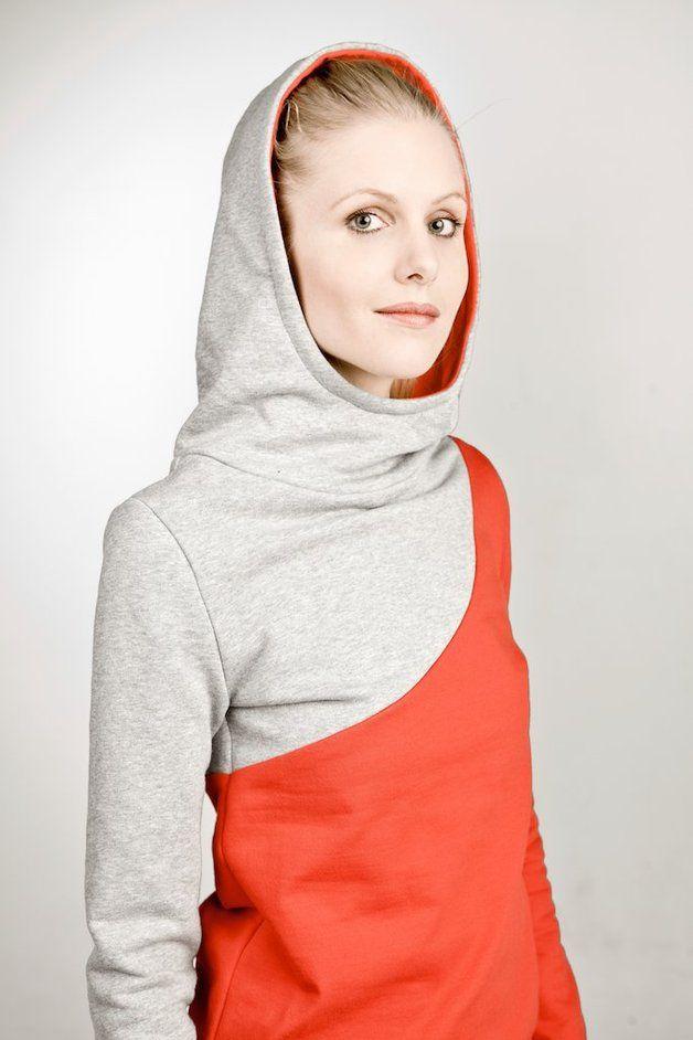"""Hoodies - hoody """"ehrenpreis"""", rot-grau - ein Designerstück von bluetezeit-berlin bei DaWanda"""