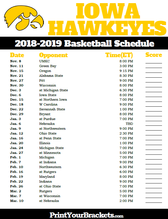 Printable Iowa Hawkeyes Basketball Schedule Basketball