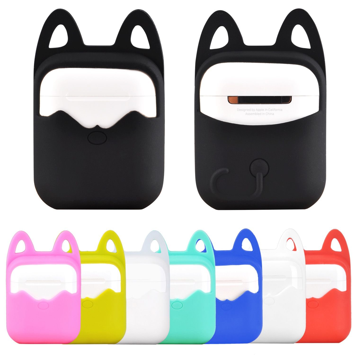 0f9f814f89c Hanging Cat Ears Silicone Rubber Bag Protective Cover Sleeve Case for Apple  Airpods Charging Case