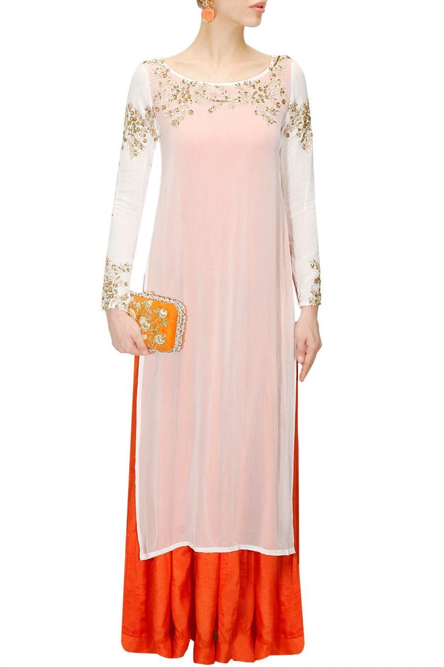 PRATHYUSHA GARIMELLA Orange plain anarkali with white gold ...