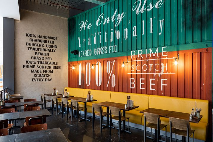 handmade burger co by brown studio glasgow uk retail design blog