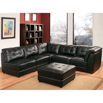 Erica 6 Piece Top Grain Leather Modular Sectional Living Room Set   Black  At Costco