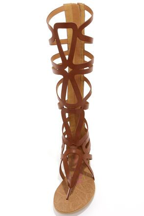 Heart Soul Cleopatra Cognac Tall Caged Gladiator Sandals