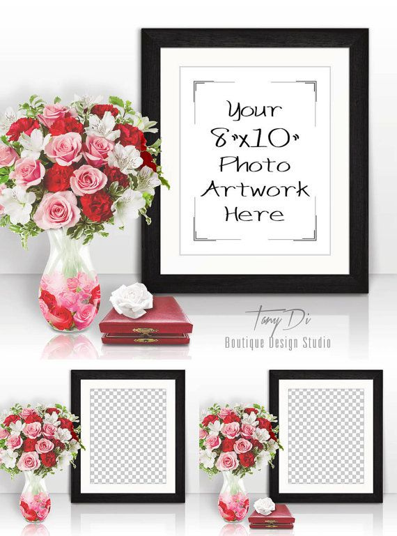8x10 Portrait Black Wood Frame Red Pink by TanyDiDesignStudio ...