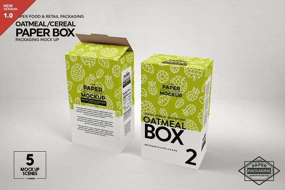 This type of product box. Paper Oatmeal Box Packaging Mockup Packaging Mockup Design Mockup Free Free Packaging Mockup