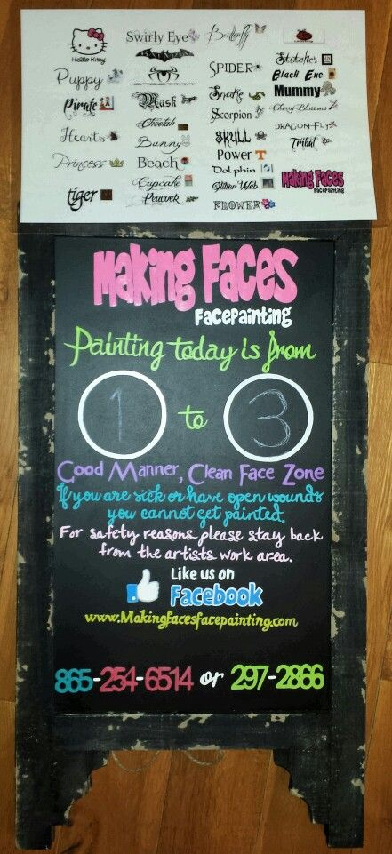 Face paint information board with word menu Making Faces - another word for presume