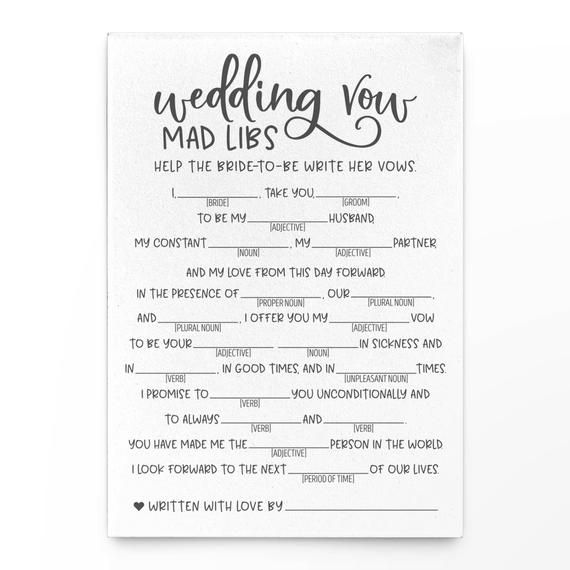 Grey Wedding Vow Mad Libs . Grey Bridal Mad LibsVirtual