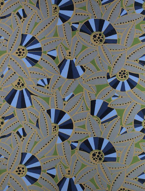 Papier Peint A Motif De Style Art Nouveau Eventails Stephany