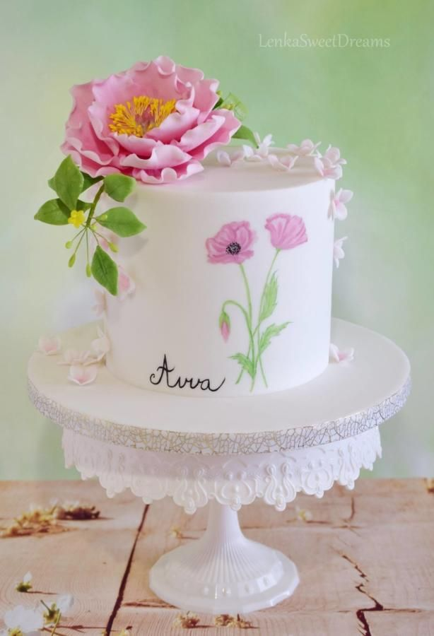 Birthday Cake With Sugar Flowers By LenkaSweetDreams