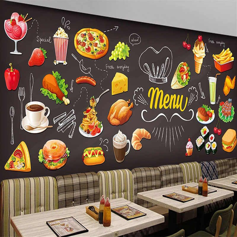 Custom Any Size Mural Wallpaper 3d Hand Painted Foods Western Restaurant Fast Food Shop Background Wall Decor 3d Wall Painting Wallpapers Aliexpress Wallpaper Stores Western Decor Custom Wallpaper
