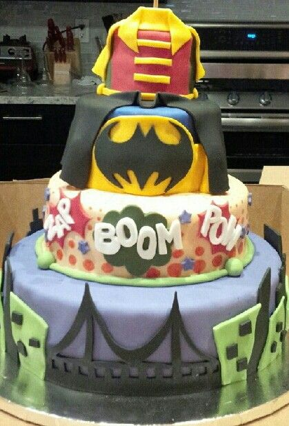 Fondant Batman and Robin comic book cake Vegan chocolate cake with