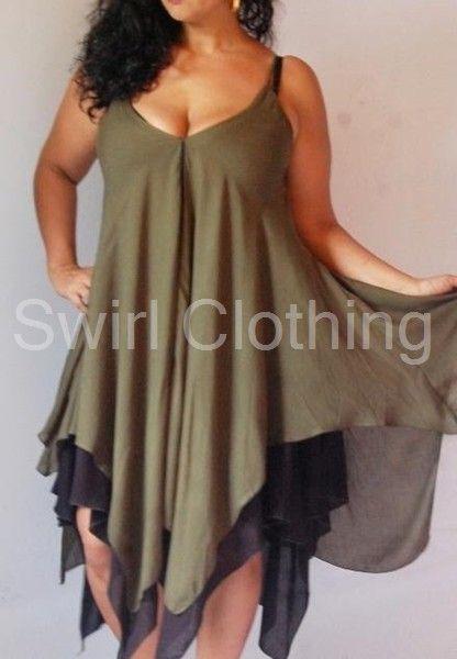 Swirl Clothing Lagenlook Chiffon Sexy Mini Dress Black Green 20 22 24