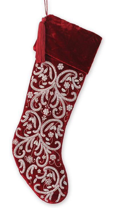 Fair Trade Beaded Embroidered Christmas Stocking - Festive Greetings | NOVICA