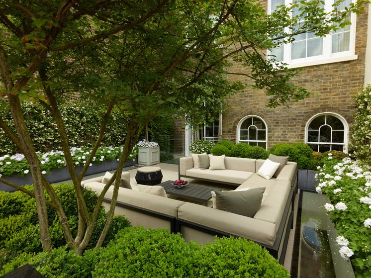 Transitional Patio by Bowles & Wyer