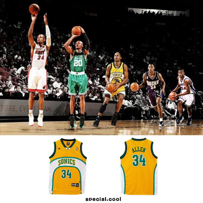 the latest ccaa4 adfde CHEAP #34 Ray Allen Seattle Supersonics Retro Basketball ...