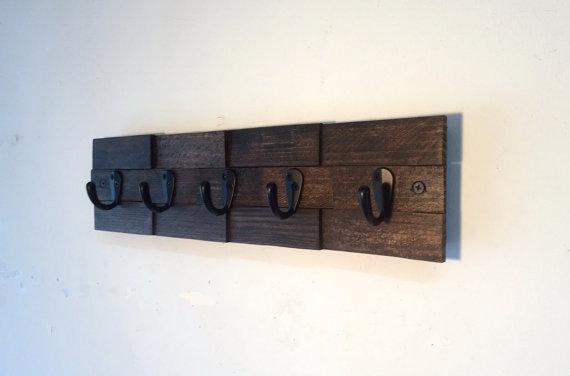 Wall key hook rustic key rack entryway storage by TreetopWoodworks