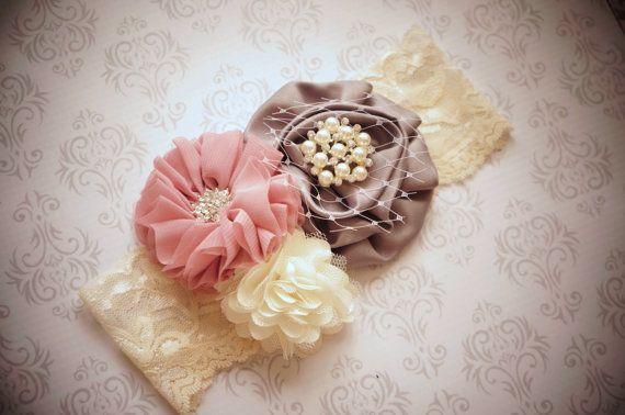 baby headband~shabby chic headband~trio Headband~ vintage headband~infant headband~wedding headband~flower girl headband~toddler headband